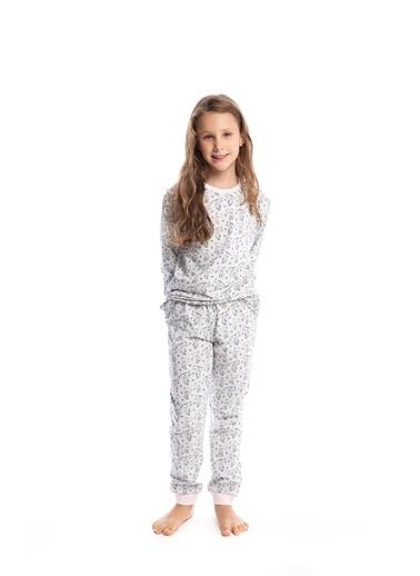 Pamuk & Pamuk Kız Çocuk Sevimli Kedi Desen Pamuklu Pijama Takımı Renkli